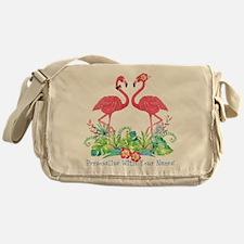 PERSONALIZED Flamingo Couple Messenger Bag