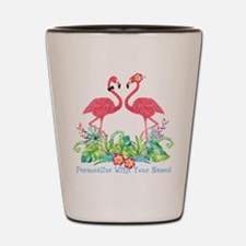 PERSONALIZED Flamingo Couple Shot Glass