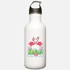 PERSONALIZED Flamingo Couple Water Bottle