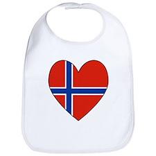 Norwegian Flag Heart Valentin Bib