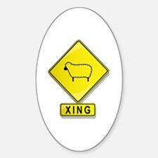 Sheep XING Oval Decal