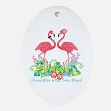 Personalized Flamingo Couple Oval Ornament