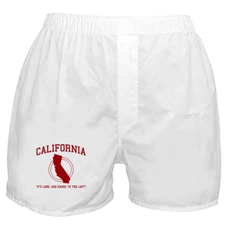 California it's long and hangs to the left Boxer S