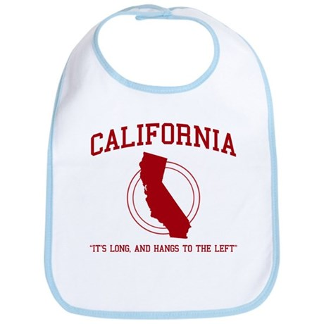California it's long and hangs to the left Bib