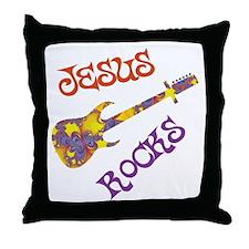 Jesus Rocks with Guitar Throw Pillow