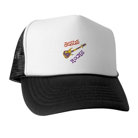 Jesus Rocks with Guitar Trucker Hat
