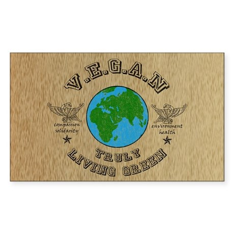 VEGAN -truly living green Rectangle Sticker