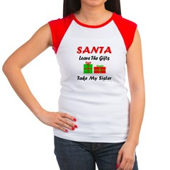 SANTA TAKE MY SISTER Women's Cap Sleeve T-Shirt