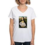 Mona /Pekingese (w) Women's V-Neck T-Shirt