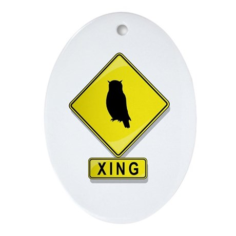 Owl XING Oval Ornament