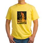Fairies / Pekingese(r&w) Yellow T-Shirt