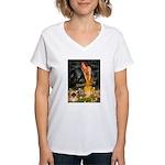 Fairies / Pekingese(r&w) Women's V-Neck T-Shirt