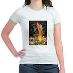 Fairies / Pekingese(r&w) Jr. Ringer T-Shirt