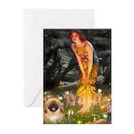 Fairies / Pekingese(r&w) Greeting Cards (Pk of 10)