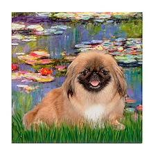 Lilies / Pekingese(r&w) Tile Coaster