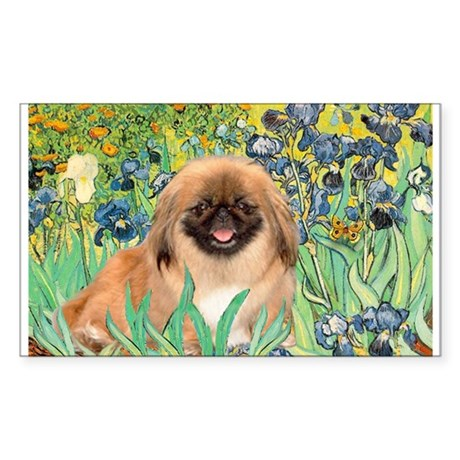 Irises / Pekingese(r&w) Sticker (Rectangle)