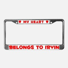 Heart Belongs to Irvin - License Plate Frame