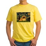 Starry / Pekingese(r&w) Yellow T-Shirt