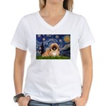 Starry / Pekingese(r&w) Women's V-Neck T-Shirt