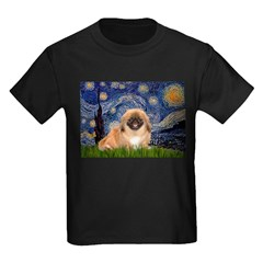 Starry / Pekingese(r&w) Kids Dark T-Shirt
