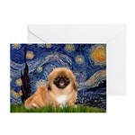 Starry / Pekingese(r&w) Greeting Cards (Pk of 20)