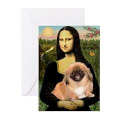 Mona / Pekingese(r&w) Greeting Cards (Pk of 10)
