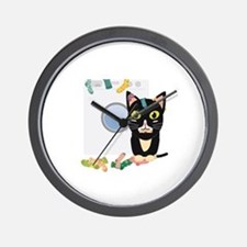 Cat with washing machine Wall Clock