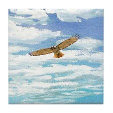 Red Tail Hawk in the Clouds Tile Coaster