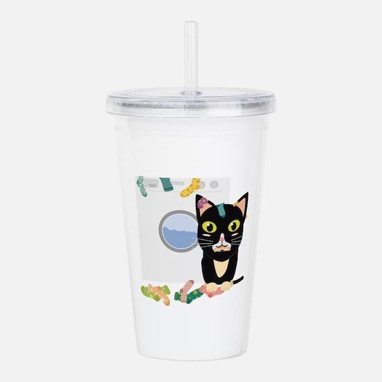 Cat with washing machi Acrylic Double-wall Tumbler