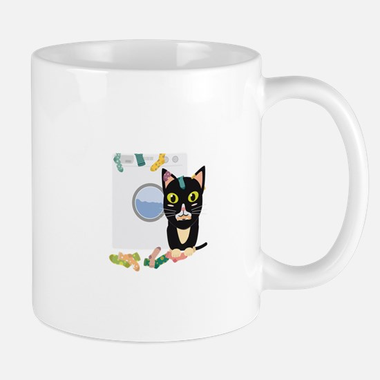 Cat with washing machine Mugs