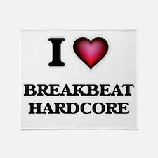 I Love BREAKBEAT HARDCORE Throw Blanket