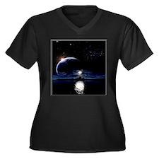 Moon's Midnight Women's Plus Size V-Neck Dark T-Sh