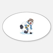Hockey Playing Snowman Oval Decal