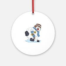 Hockey Playing Snowman Ornament (Round)