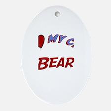 I Love My Cat Bear Oval Ornament