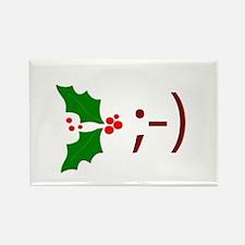 Wink Emoticon - Mistletoe Rectangle Magnet