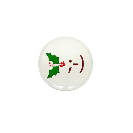 Wink Emoticon - Mistletoe Mini Button (10 pack)
