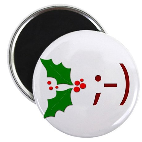 "Wink Emoticon - Mistletoe 2.25"" Magnet (100 pack)"