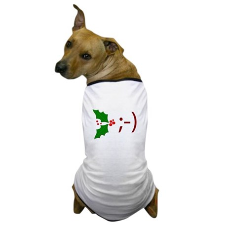 Wink Emoticon - Mistletoe Dog T-Shirt