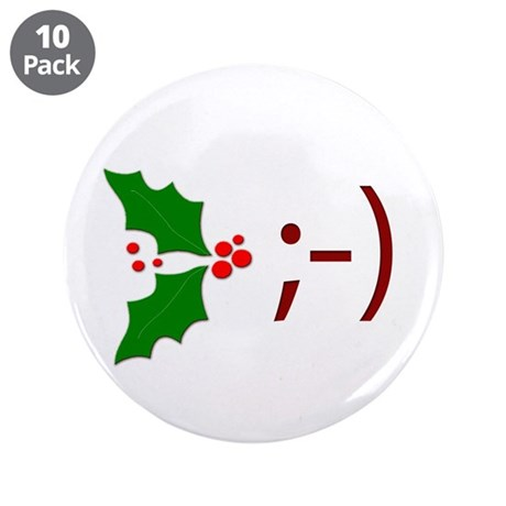"Wink Emoticon - Mistletoe 3.5"" Button (10 pack)"