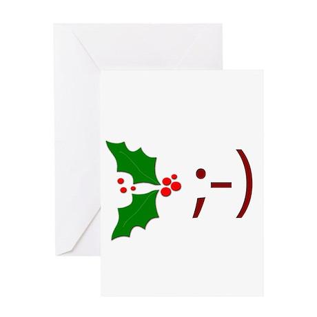 Wink Emoticon - Mistletoe Greeting Card