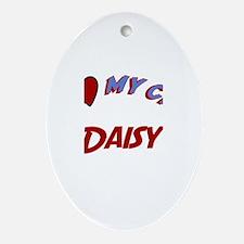 I Love My Cat Daisy Oval Ornament