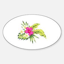 Cute Tropical flowers Sticker (Oval)