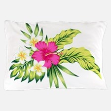 Pink Hibiscus Tropical Flowers Pillow Case