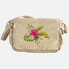 Pink Hibiscus Tropical Flowers Messenger Bag