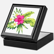 Pink Hibiscus Tropical Flowers Keepsake Box