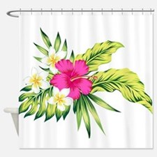 Pink Hibiscus Tropical Flowers Shower Curtain