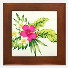 Pink Hibiscus Tropical Flowers Framed Tile