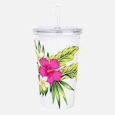 Pink Hibiscus Tropical Acrylic Double-wall Tumbler