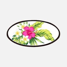 Pink Hibiscus Tropical Flowers Patch